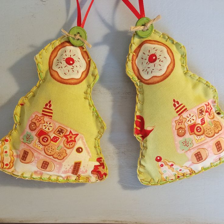Fabric Christmas Ornaments - Set of 2 by CoralitaAvenue on Etsy