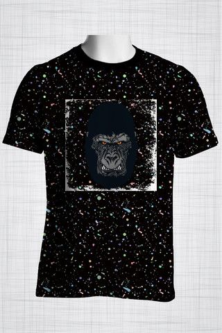 Plus Size Men's Clothing Gorilla t-shirt  Wild Grunge Collection - Plus size men's clothing Fabric for this t-shirt is a lightweight polyester cotton fabric that,  * absorbs moisture  * transfers body perspiration away from the skin  * breathable and lightweight * tear resistant  * shrink resistant * quick drying  * comfortable
