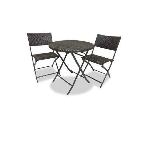 3-Piece Outdoor Bistro Set with Round Table and 2 Patio Chairs