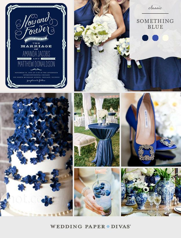 From cobalt to navy, a monochromatic palette of blue hues is sure to result in wedding elegance. Combine it with ivory or white for a classic look.