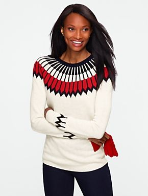 Talbots - Nordic Fair Isle Sweater. I luv this color work ...
