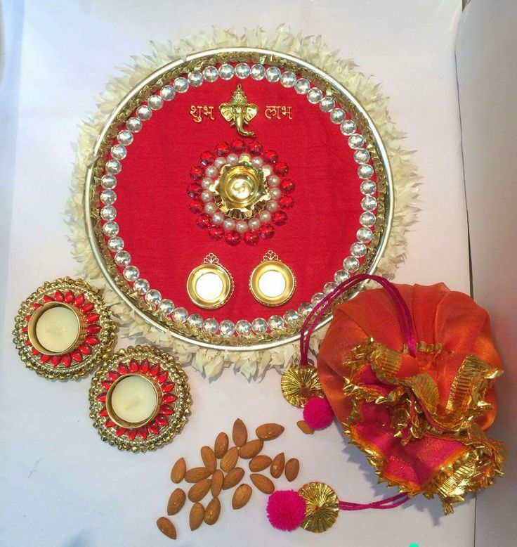 The 356 best images about pooja thali on pinterest henna for Aarti thali decoration with flowers