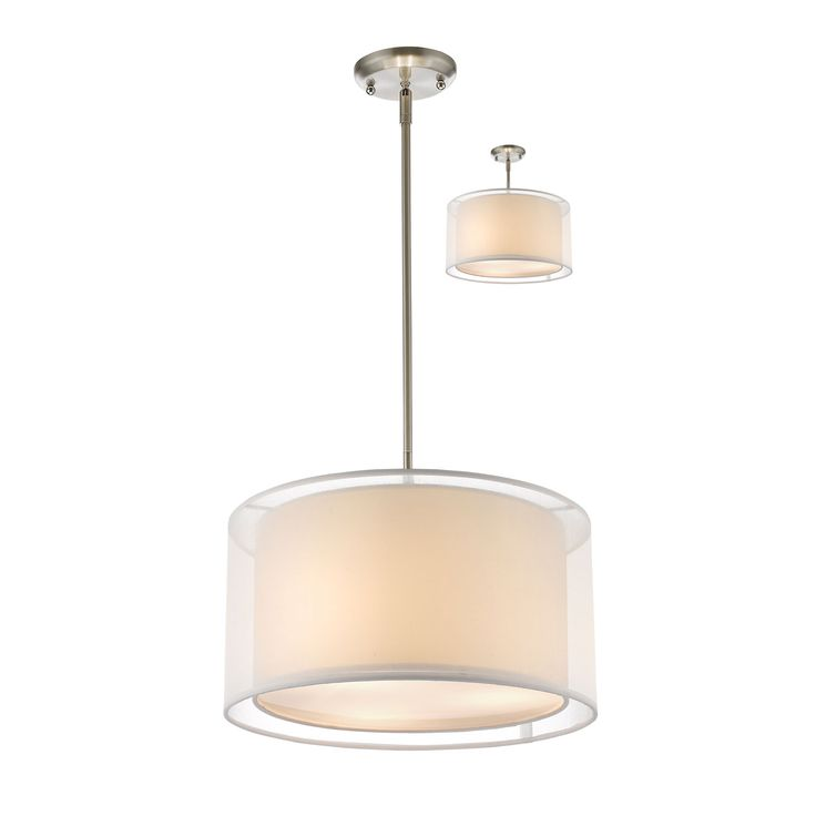 Brushed Nickel Finish 56.48 Inches High 15 Inches Wide 3 - 60 Watt Medium Bulbs  Sedona Brushed Nickel Three Light Pendant With White Shade Drum Pendant Lighting Ceiling