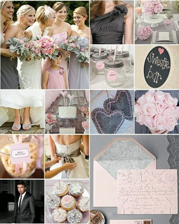 Grey and pink Wedding. Originally liked the light gray but I'm starting to dig the darker look