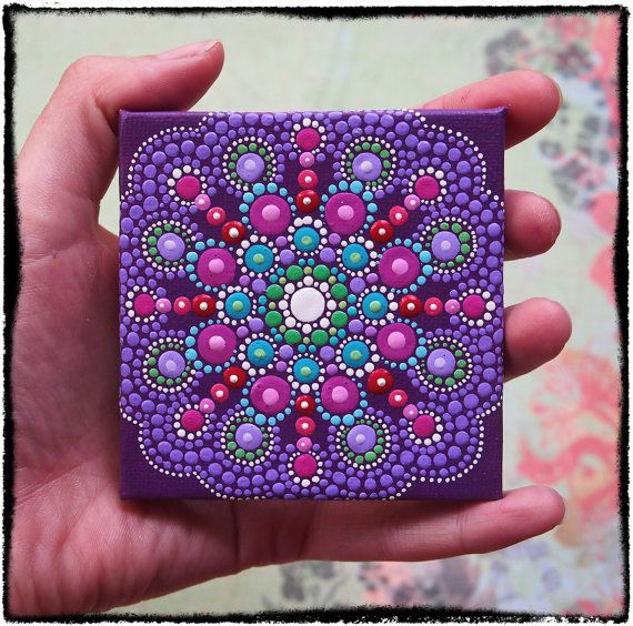 Mini Original Painting Jewel Drop Mandala by ElspethMcLean on Etsy