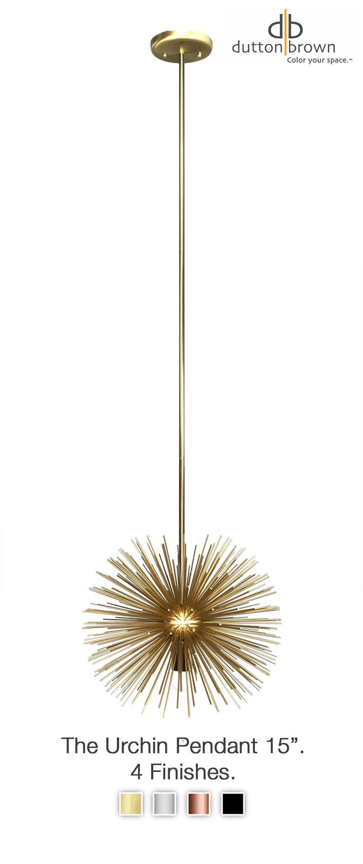 The urchin pendant is the perfect statement lighting for small spaces and is perfect for styles midcentury to modern to traditional. Click through to see more finishes great in a nursery or kidsroom, flanking a bed, in pairs over a kitchen island, or grouped in a foyer. All light fixtures are designed and handmade in Minneapolis.