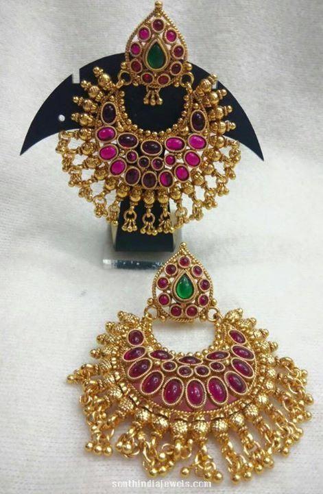 One gram gold ruby chandbali design
