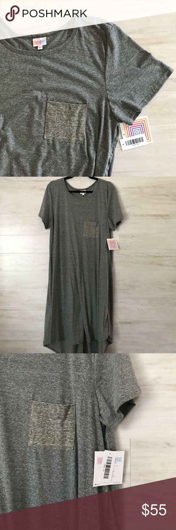 NWT LuLaRoe Carly Dress Heather gray with an olive green chest pocket. Size XL. NWT never worn. Bundle to save or make an offer. LuLaRoe Dresses