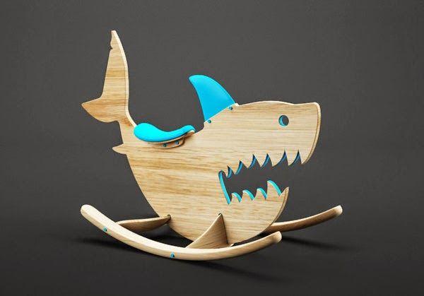 un requin en bois spécialement conçu pour enfants