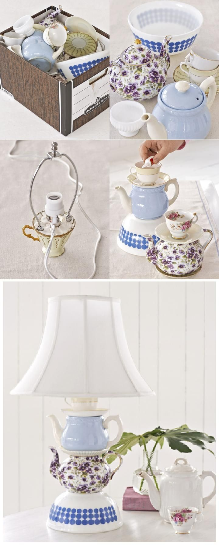 A Teacup Lamp - Clever use for mismatched china! Fun! DIY. Upcycle. Country Living project idea with instructions.