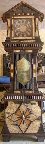www.lpostrustics.com  Adirondack rustic grand mother clock with oil painting, bark and twigs in a fun  Bavarian style.