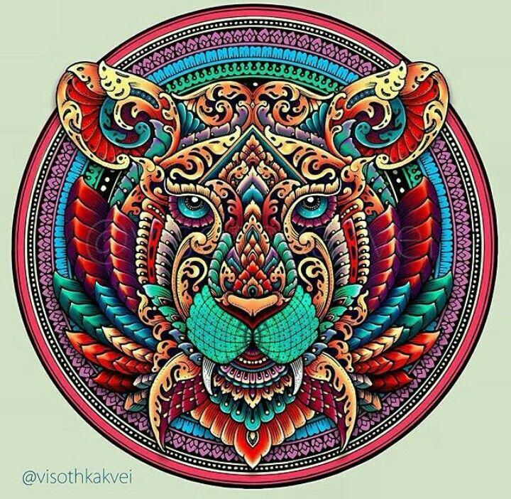 54 best drawings by visothkakvei images on pinterest art illustrations contemporary artwork - Tigre mandala ...