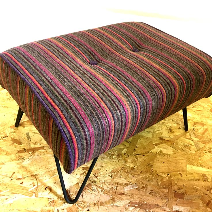 Custom hairpin leg footstool upholstered in this striking warwick wool fabric. Finished off with a complimentary purple wool piping and buttons. Designed and handmade by Wagner-Birtwistle