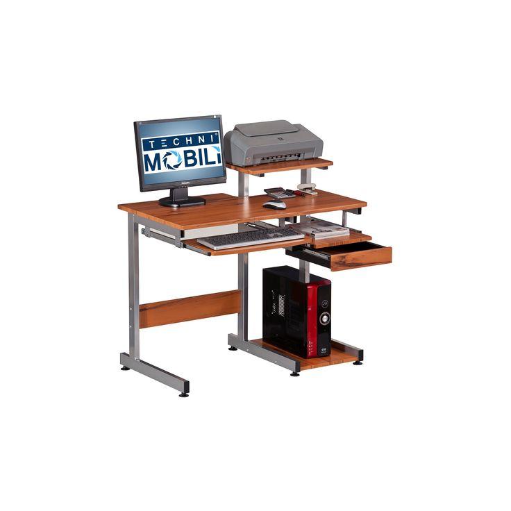 Complete Computer Workstation Desk - Woodgrain - Techni Mobili, Wood