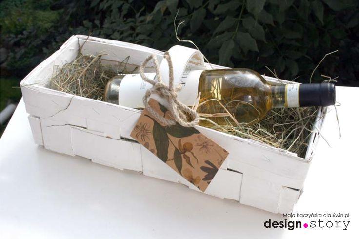 koszyk na wino z łubianki