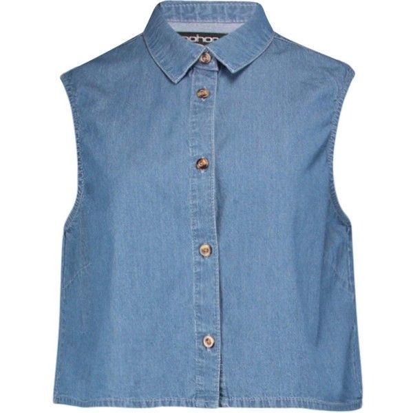 Bryony Cropped Sleeveless Denim Shirt (62.665 VND) ❤ liked on Polyvore featuring tops, sleeveless shirts, crop top, denim top, cropped denim shirt and sleeve less shirts