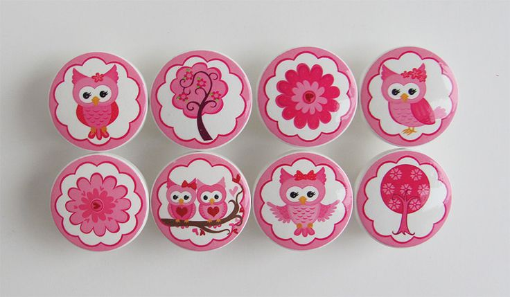Girl's Knobs- Pretty Owl Knobs- Pink Owl Knobs- Tree Knobs- Cute Owls Drawer Knobs..-  Wood Knobs- 1 1/2 Inches - Set of 8. $30.00, via Etsy.