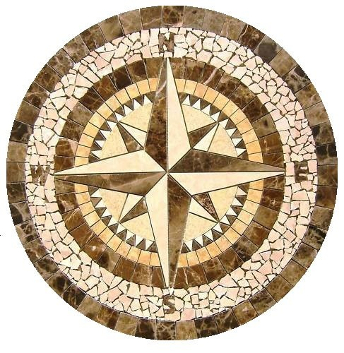 Compass Rose Mosaic Tile Medallion 34 Quot Diameter