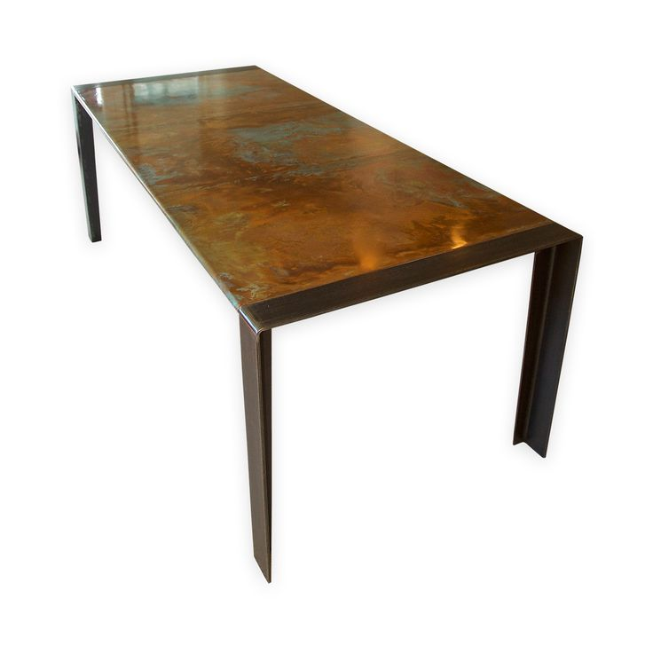 Standard sized contemporary copper top table on steel legs  *Plus VAT & Delivery to most UK destinations