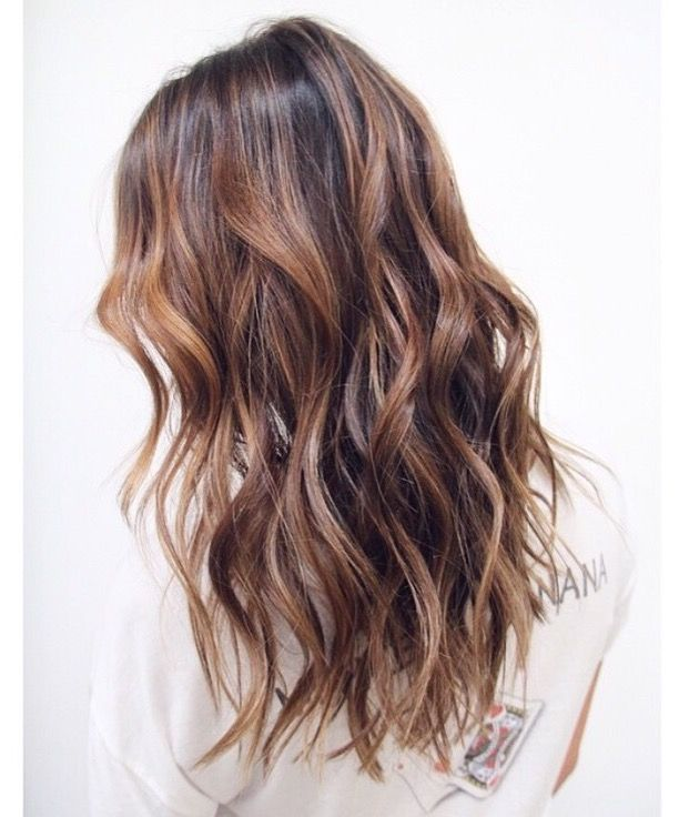 Beachy brunette wavy hair