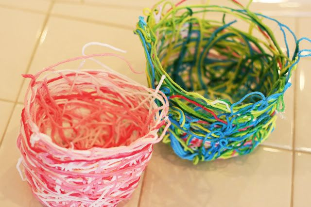 Yarn Baskets - can also be done around a balloon blown up in the shape of an oval to make an egg