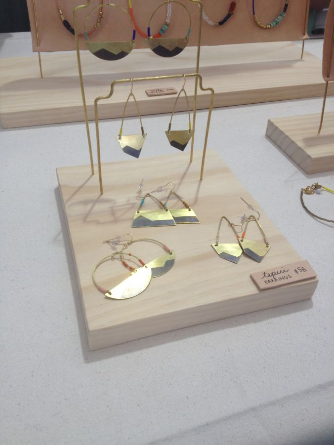 Favorite! wire earring hangers pegged into plywood! son of a sailor jewelry display
