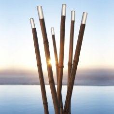 bamboo garden, solar lights...