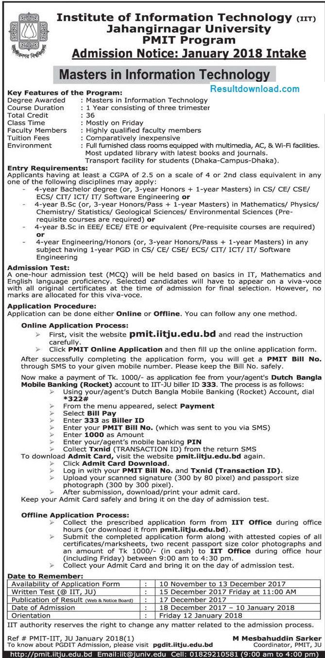 Jahangirnagar University Masters Admission circular 2017...Jahangirnagar University Masters Admission Result 2017, JU MIT Admission Notice & Result 2018