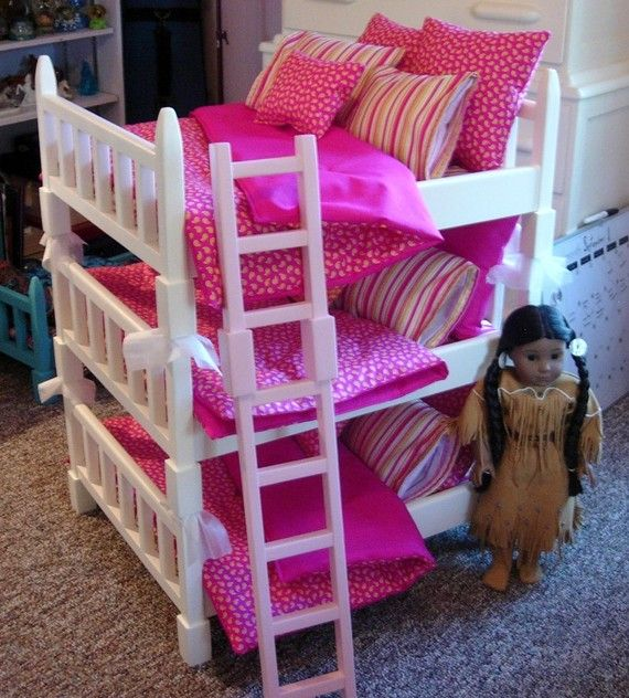 Doll Bunk Bed Double Sized Triple Bunk Set Fits 6