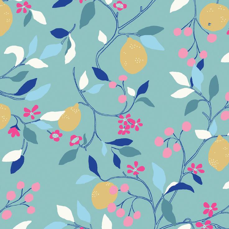 Lemon - Mediterranean lemons climb hot stone walls in this citrus print  www.lilyandmeclothing.com