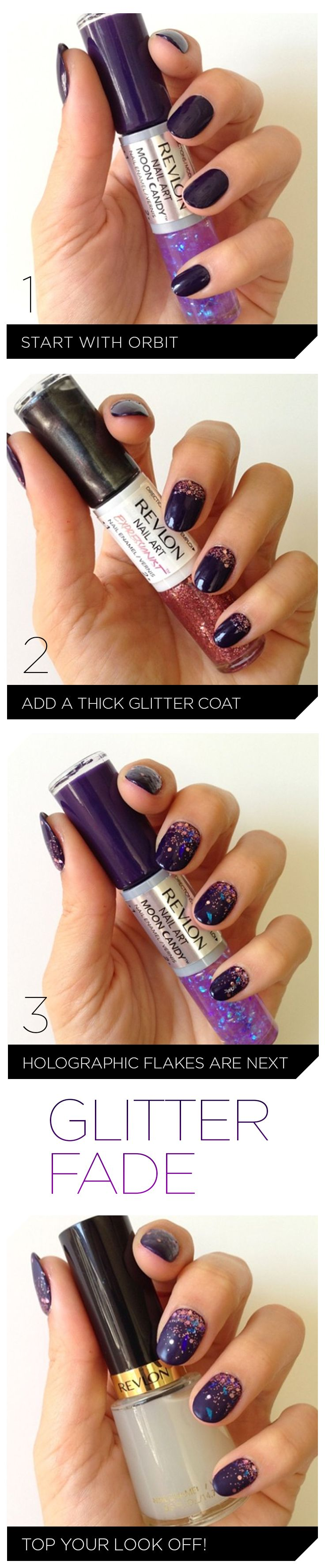 Get the step-by-step guide on how to get these glitter fade nails.