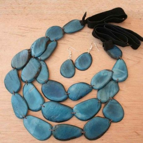 Blue Triple Strand Beaded Necklace with Earrings #bib #leather #eco Awesome statement piece here: http://www.artisansintheandes.com/beaded-necklaces-bib-necklace-chunky/beaded-necklaces-blue-triple-tagua-nut