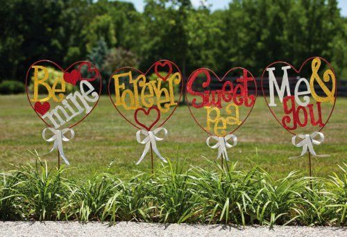 "Set of 4 Valentine's Day Sentiment Forever Heart Shaped Garden Lawn Stakes 36.2"" by Evergreen. $84.99. Forever Heart Lawn StakesItem #489370Heartfelt lawn stakes are perfect for lining your driveway, nestled in your garden or set out by your front doorStakes feature Valentine sentiments: ""Be Mine"", ""Forever"", ""Sweet Pea"" and ""Me & You""For outdoor useDimensions: 36.2""H x 14""W x 2""DMaterial(s): metal. Save 15%!"