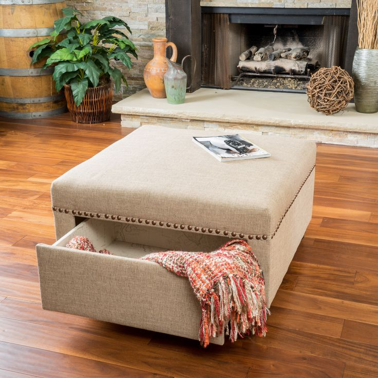 Christopher Knight Home Darby Square Fabric Storage Ottoman   Overstock  Shopping   Great Deals On Christopher Knight Home Ottomans