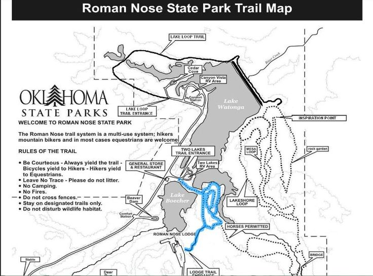 Travelok  The Roman Nose State Park Trail Map Go
