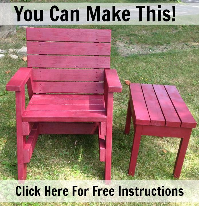 Easy plans to make this chair and side table from 2x4s or for 2x4 furniture plans free