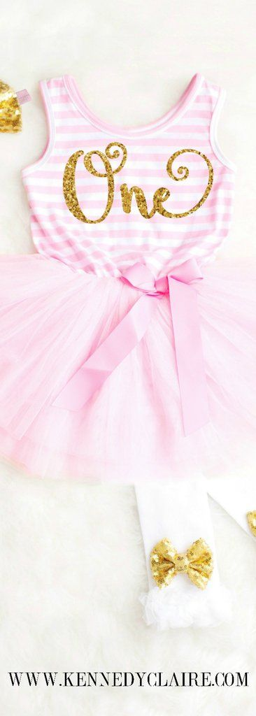 Baby Girl Birthday Dress, First Birthday Outfit Pink and Gold Birthday Tutu Outfit