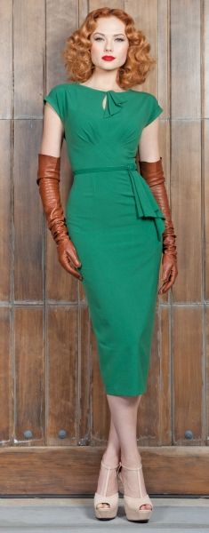 green retro. I am loooooving those gloves. Would totes do with black gloves and crazy sky high black pumps.