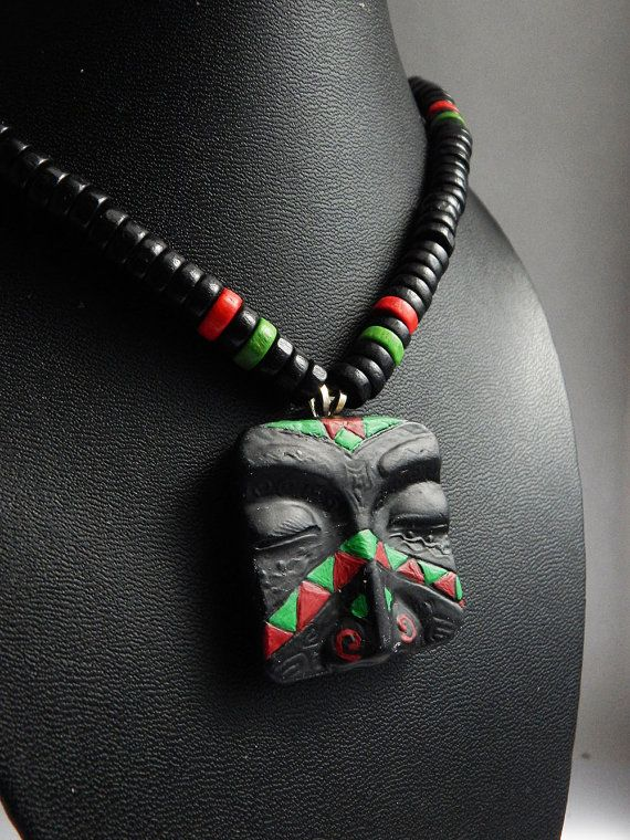 RBG Mens African Necklace RBG Mask Pendant Jewelry Mens Beaded Necklace Red Black Green Mens Tribal Jewelry Made to Order Polymer Clay Face by TheBlackerTheBerry