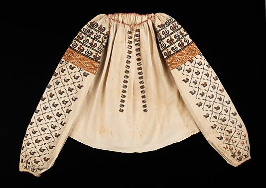 Blouse.  Date: fourth quarter 19th century. Culture: Slovak. Medium: cotton, glass. Dimensions: Length at CB: 21 in. (53.3 cm).