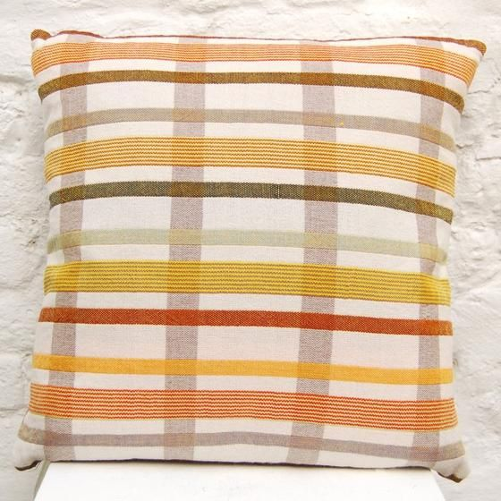 Orange Geometric Cushion handwoven cushion by Zoe Acketts, available to buy online or at Golden Hare Gallery in Ampthill, Bedfordshire