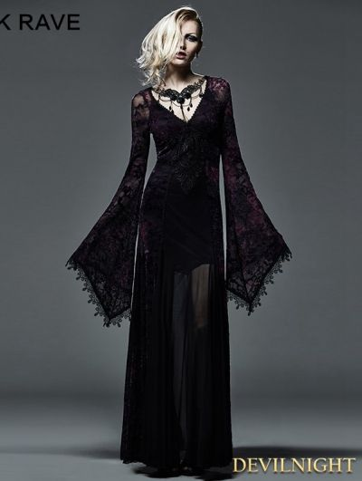 Dark Violet Sexy Gothic Long Vampire Dress                                                                                                                                                      More