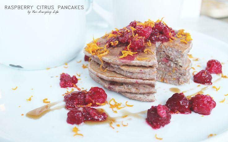 Raspberry Citrus Pancakes #healthyeating #recipe