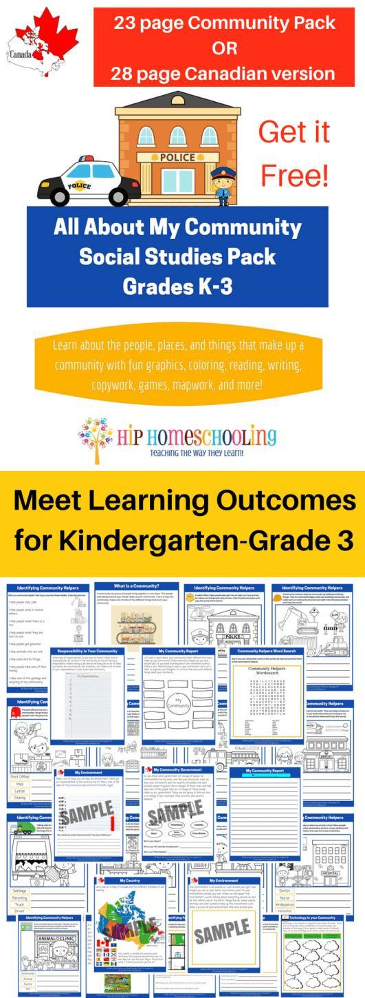 Complete Social Studies Worksheets Unit Designed to meet learning outcomes for Kindergarten-Grade 3. Get it FREE! For elementary social studies plus a Canadian social studies package!