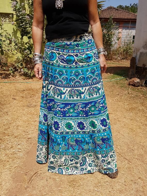 ba679a85b0 This lovely Indian printed wrap around skirt is perfect to wear for any  occasion. It can be adapted to a wide range of waist sizes as it ties at  the waist.