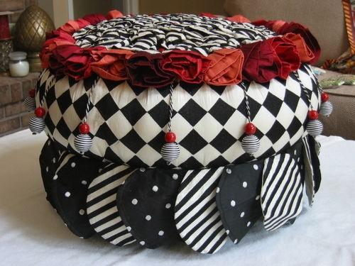 Mackenzie Childs Petite Rose Ottoman Footstool New $500 Last One | eBay