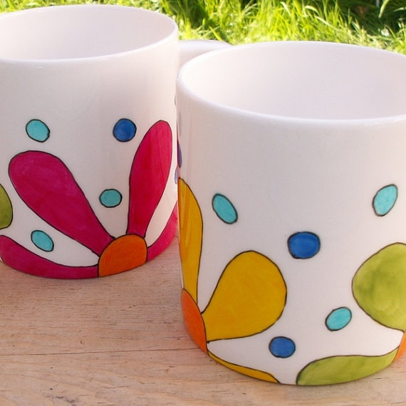 Retro Flowers Hand Painted Jumbo Mug English Bone by scattyartist