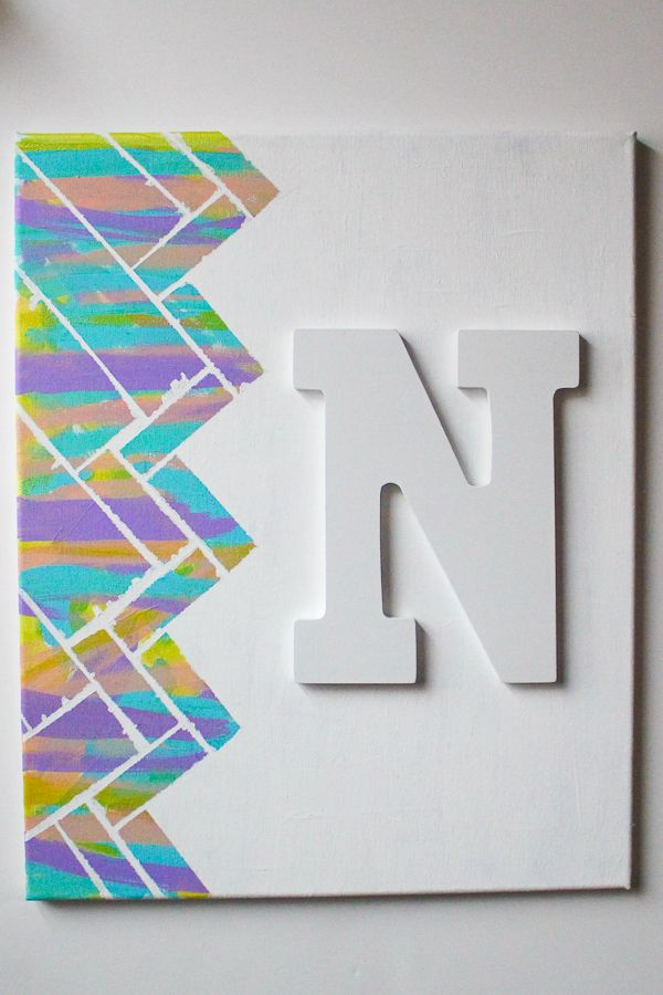 Our Mini Family: DIY Distressed Herringbone Wall Art