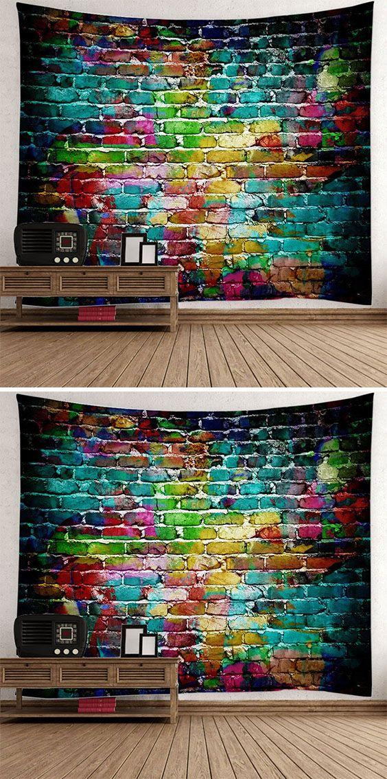 fall decor ideas:Dazzling Brick Bedroom Dorm Tapestry