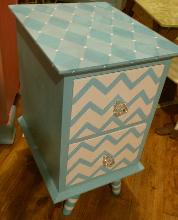 CHEVRON  Painted NIGHTSTAND End Table handpainted by spoiltrottn, $150.00